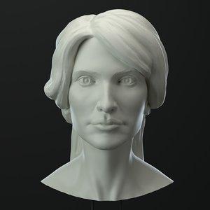 3D female head model