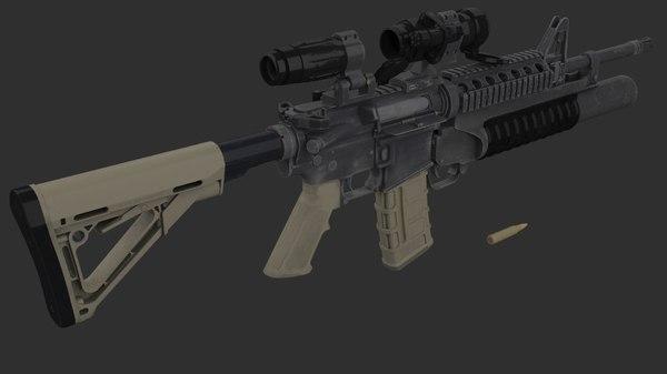 m4a1 carbine assault rifle 3D model
