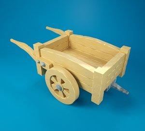3D cartoon wooden cart