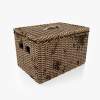 old wicker basket 3D model