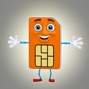 3d cartoon sim card model