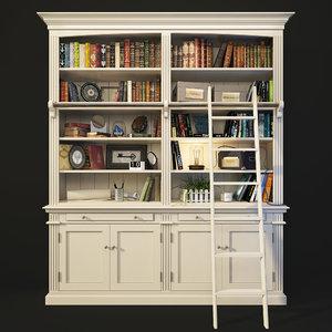 bookcase ladder white maisons 3D