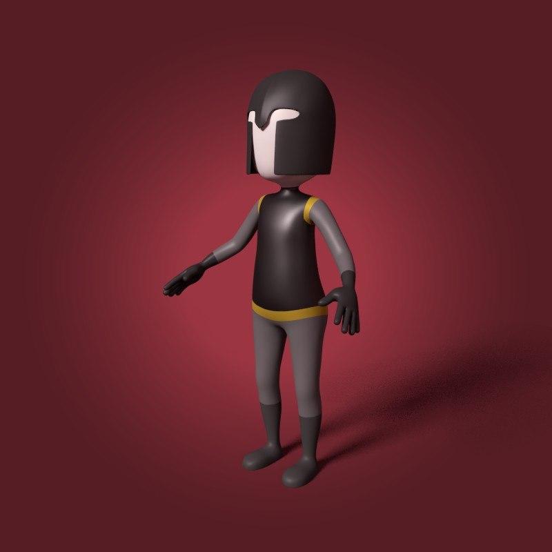 3D cartoon warrior model