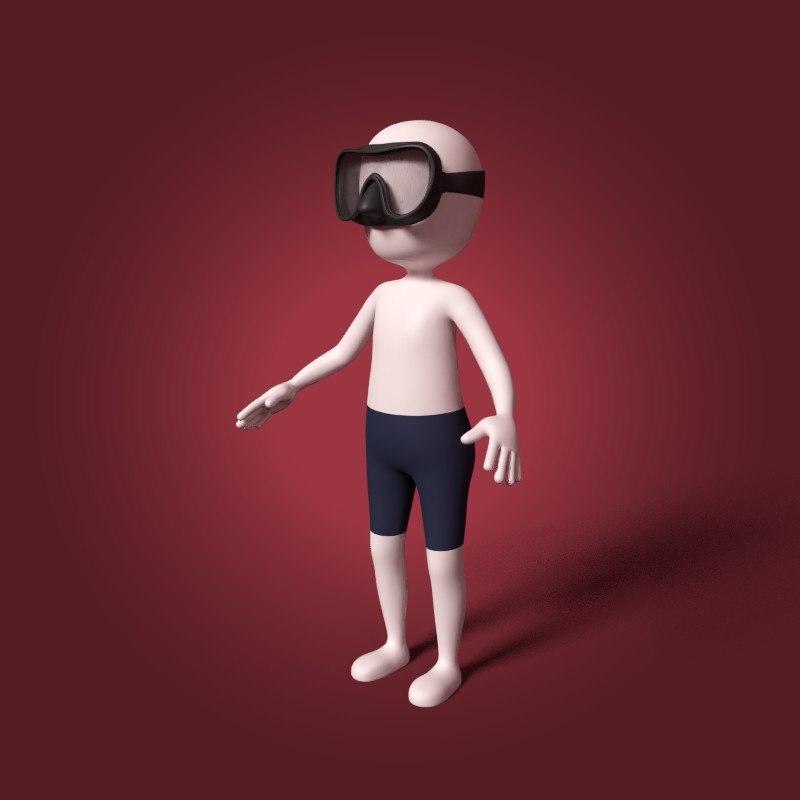 cartoon diver 3D