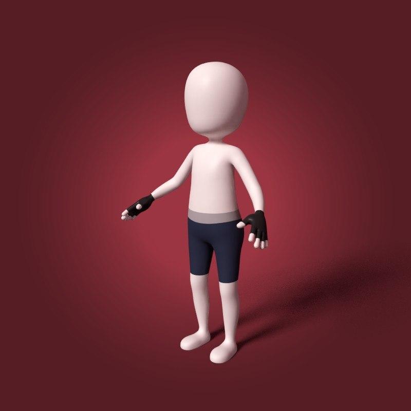 cartoon martial artist 3D model