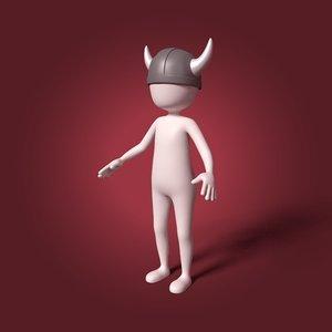 cartoon viking man 3D model