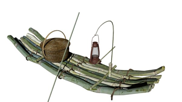 small fishing wooden boat 3D