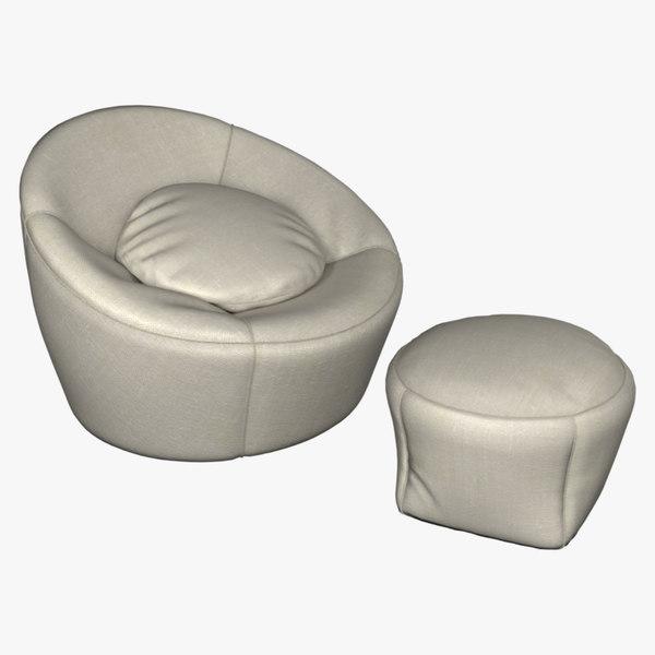 3D armchair minotti capri