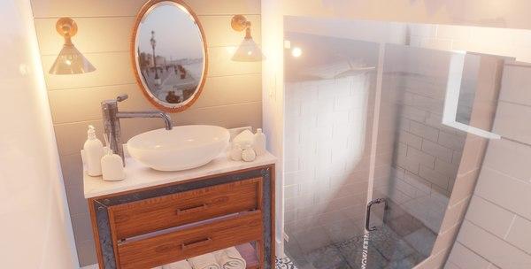 bathroom scene packed assets 3D model