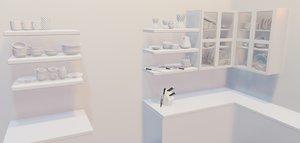 kitchen item utensils plates 3D