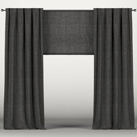 Black curtains with roman blinds