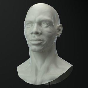 3D african male head