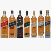 3D johnnie walker whisky flavours model