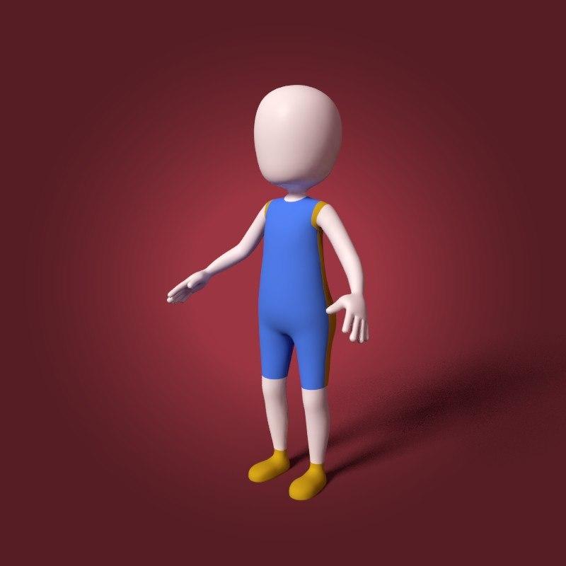 cartoon basketball player mesh 3D model