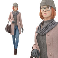 girl coat 3D