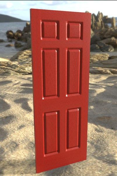 6 panel interior door 3D model