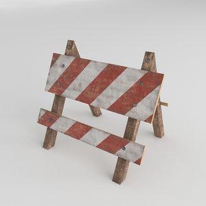 wooden road barrier 3D model