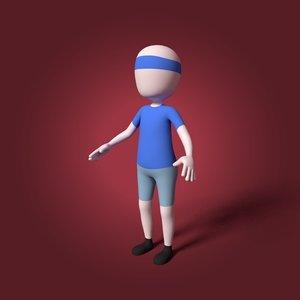 3D cartoon tennis player