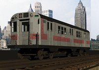 Redbird Subway Car - R34 1963 (exterior only) on elevated tracks