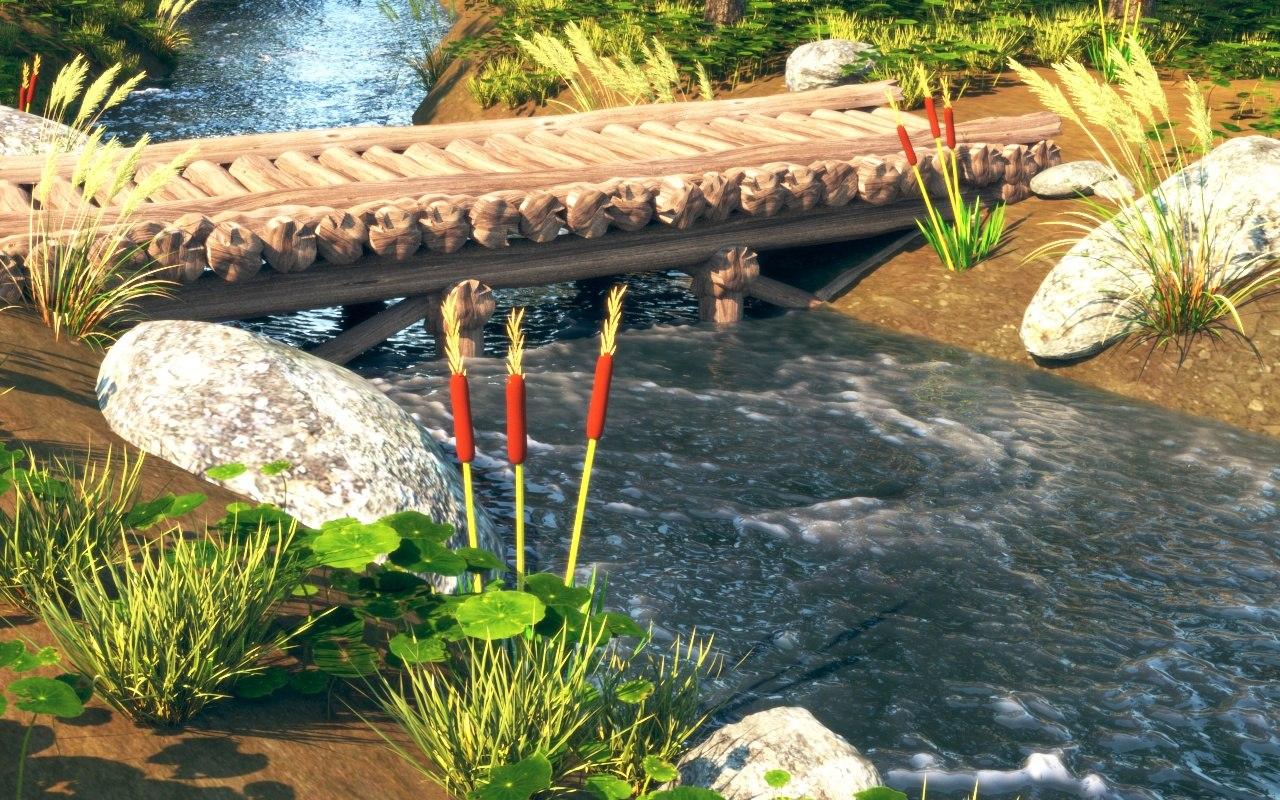 3D grass river
