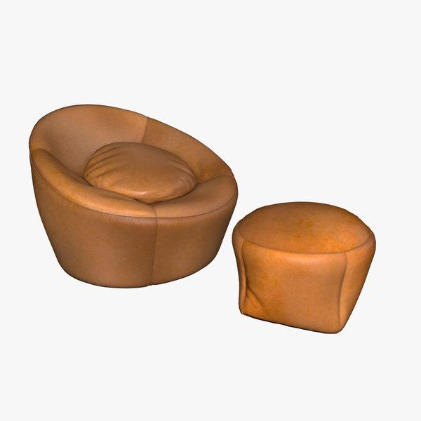 3D armchair minotti capri model