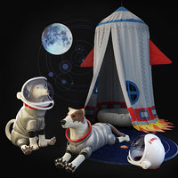 Children's room set. Tent rocket. Dogs astronauts.