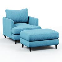 3D armchair pouf blue cloth