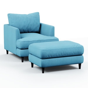 3D armchair pouf blue cloth
