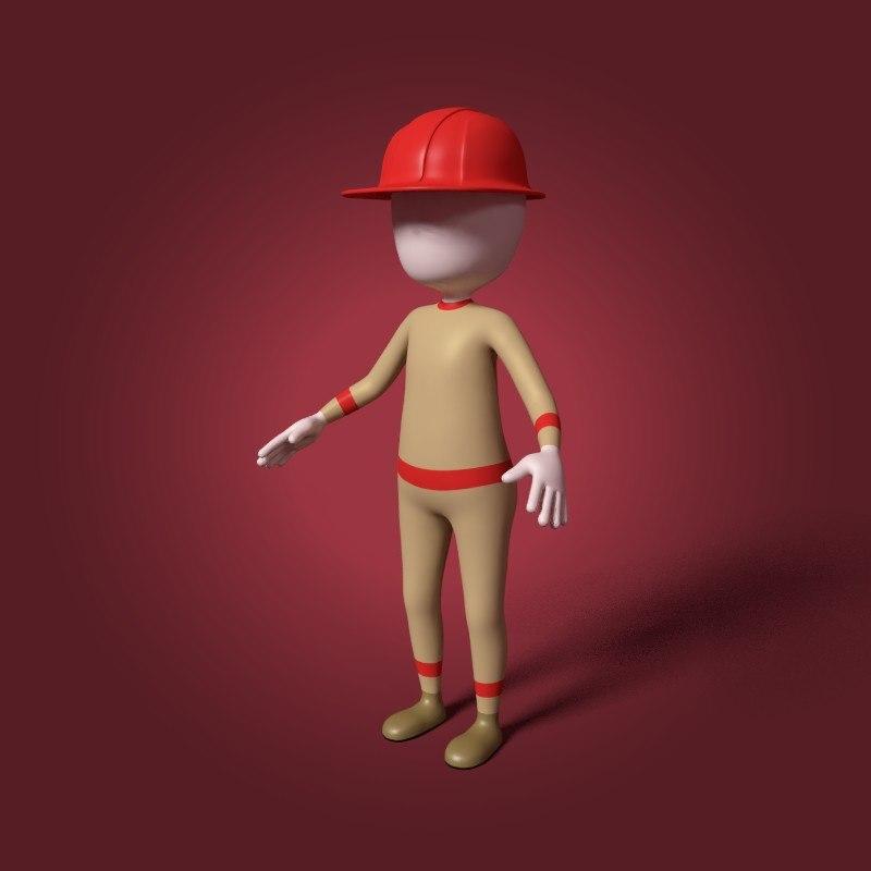 3D cartoon firefighter
