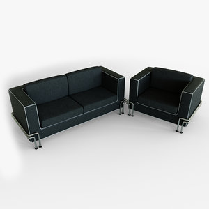 3D couch armchair set -