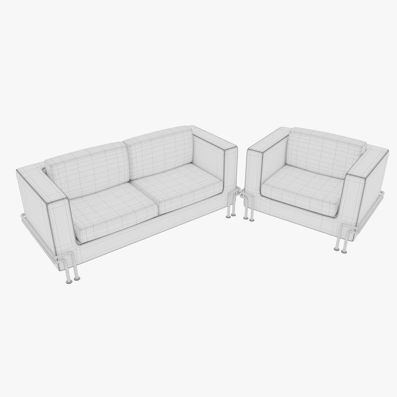 3d Couch Armchair Set Turbosquid 1390788