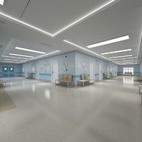 Photorealistic Hospital Hallway Corridor