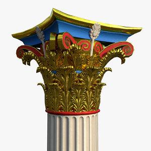corinthian order column polychromy 3D model