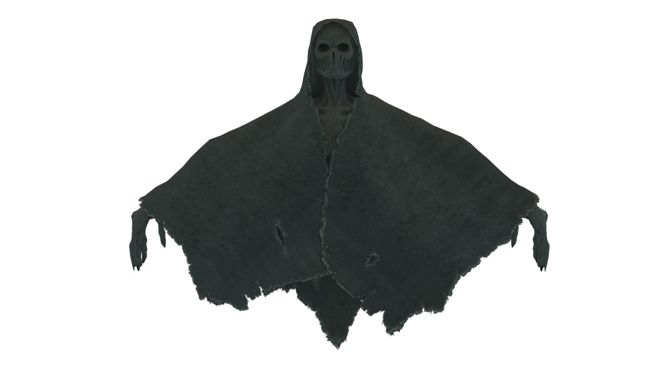3D shrouded creature rigged character