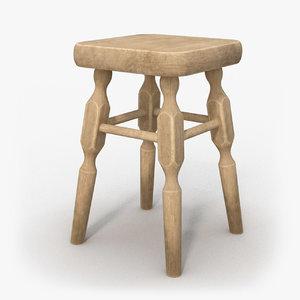 ready wooden chair 3D