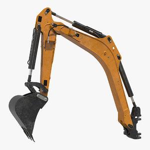 excavator boom arm rigged 3D
