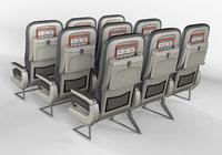 economy class seats airbus 320 3D
