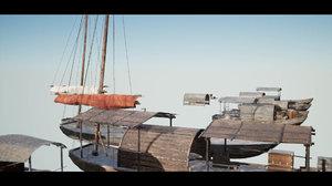 3D wooden boats model