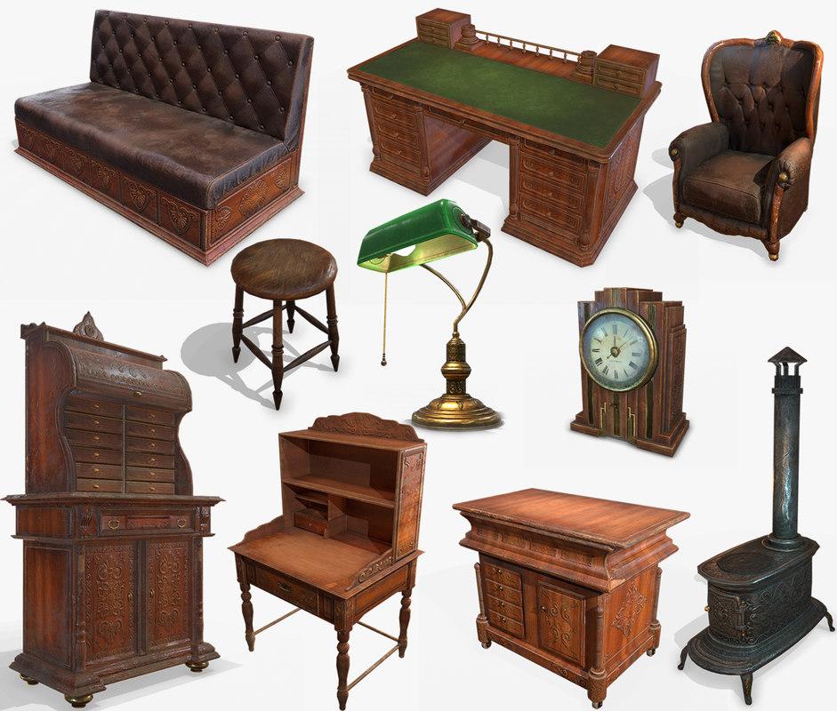 antiquare furniture pbr antique 3D model