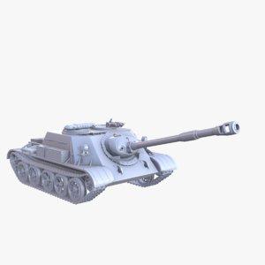 tank su-122 3D model