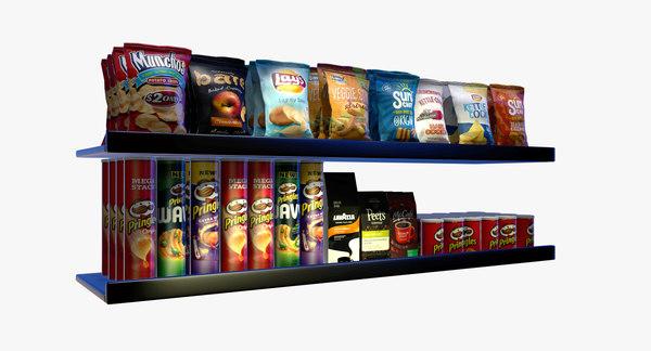 3D grocery shelf chips coffee model