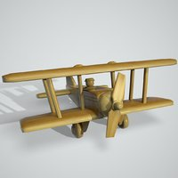 toy wooden airplane 3D model