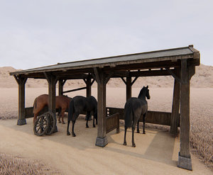 3D horse stable model