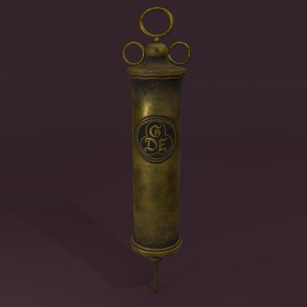 3D vintage medieval medical syringe