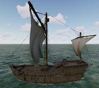 merchant ship 3D model