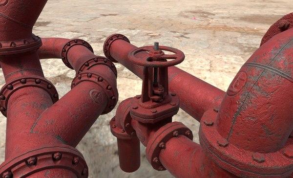 valve brackets pipes 3D model