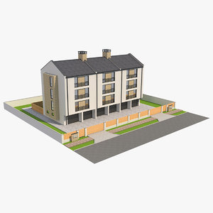 3D modern house garage 1 model