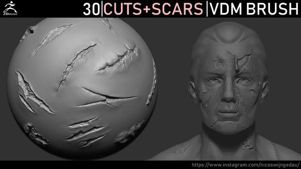 sculpted cuts scars brush 3D