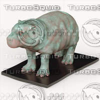 oxidized bronze hippo model