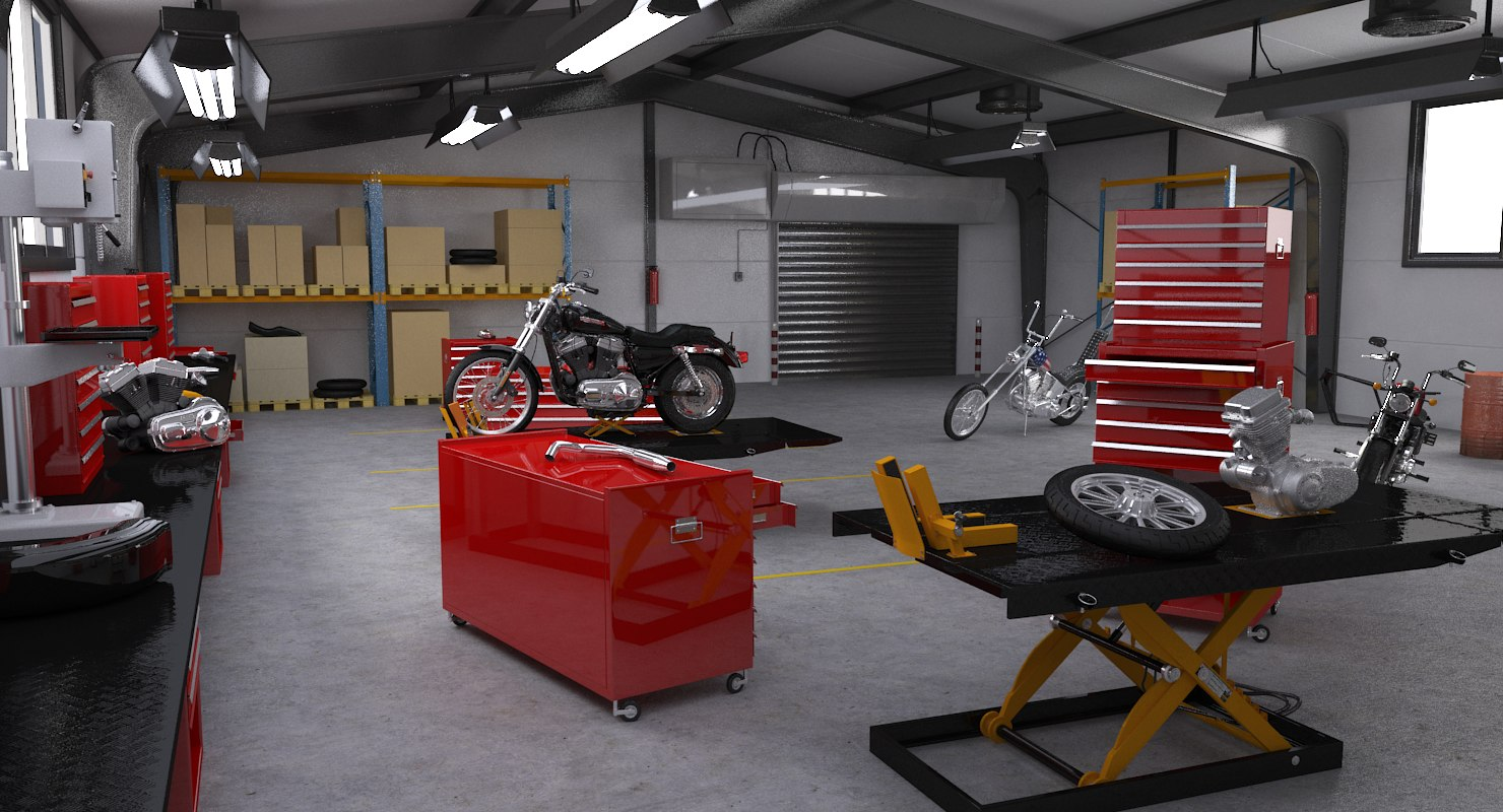 3D motorcycle service interior